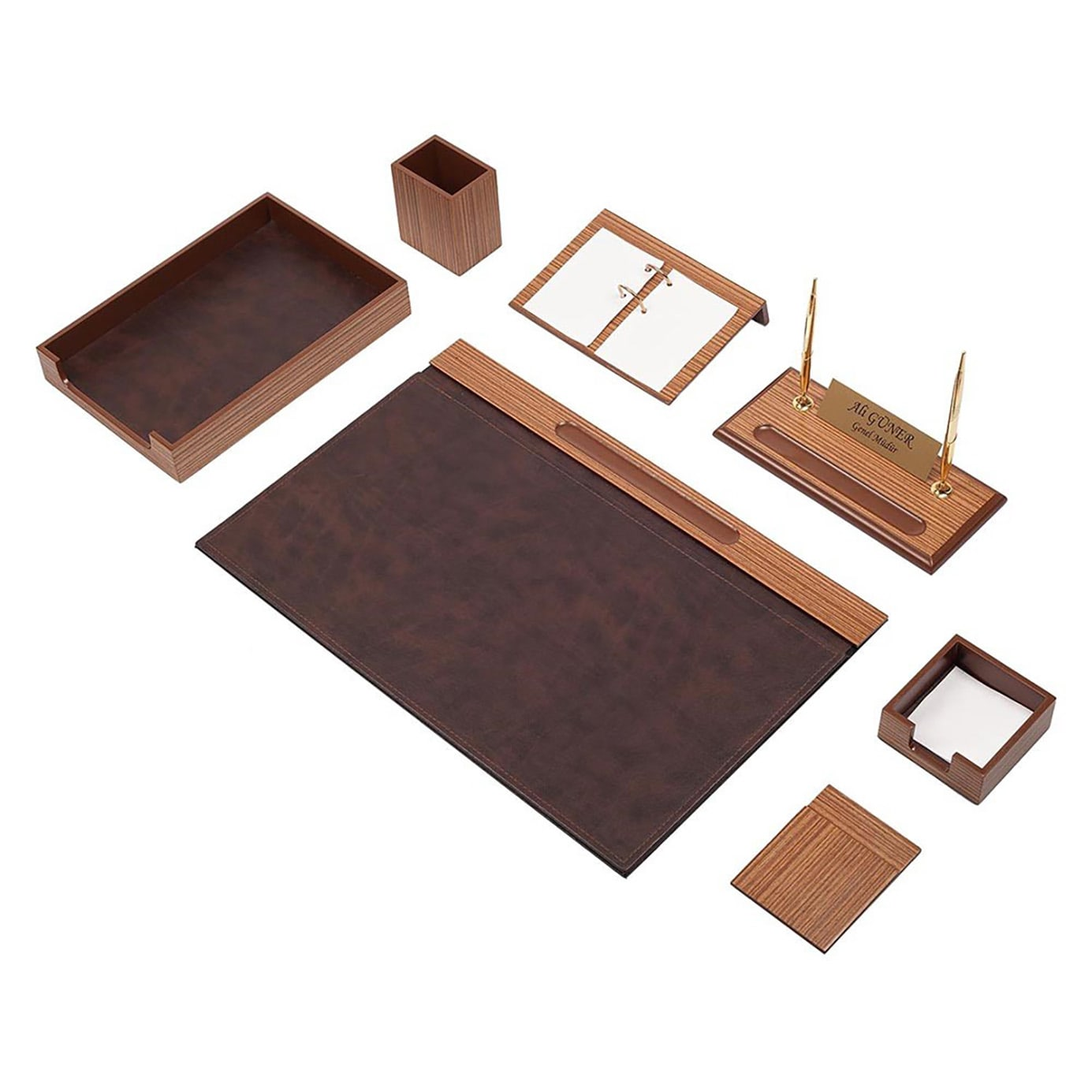Wooden Desk Set Walnut 10 Pieces
