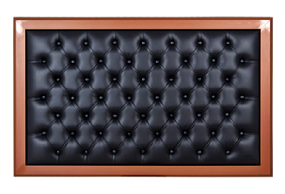 Manager Back Board – Quilted  Black Leather / Brown Frame