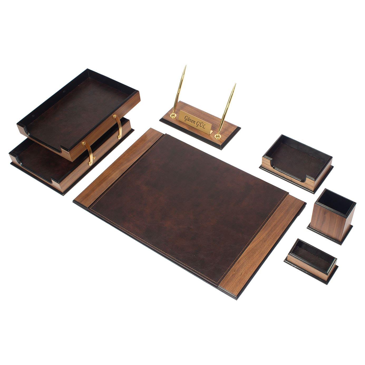 Wooden Prestij Desk Set 8 Pieces