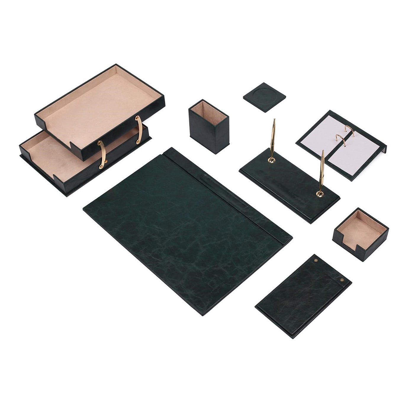 Leather Desk Set 10 Pieces Double