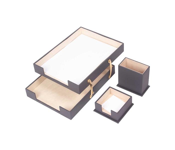 Triple Desk Set/Pen Box, Double Paper Shelves, Note Paper Holder